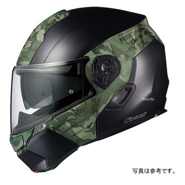【メーカー在庫あり】 オージーケーカブト OGK KABUT システムヘルメット KAZAMI CAMO フラットブラック/緑 Lサイズ 4966094576462 HD店