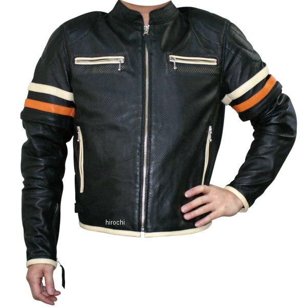 モトフィールド MOTO FIELD 春夏モデル シープパンチングレザージャケット 黒 アイボリー/オレンジライン Lサイズ MF-LJ018P HD店