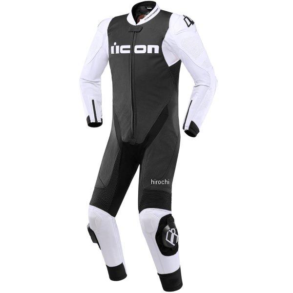 アイコン ICON 2019年春夏モデル レザースーツ HYPERSPORT MFJ公認 白/黒 56サイズ 2801-1278 HD店
