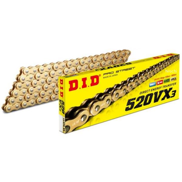 DID 大同工業 チェーン 520VX3シリーズ ゴールド 128L カシメ 4525516321754 HD店
