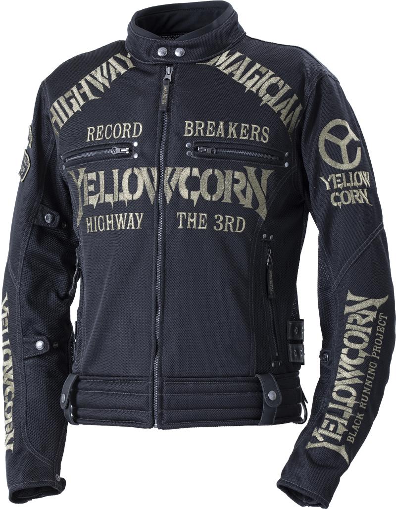 イエローコーン YeLLOW CORN 2020年春夏モデル メッシュジャケット 黒/ゴールド 3Lサイズ YB-0105 HD店