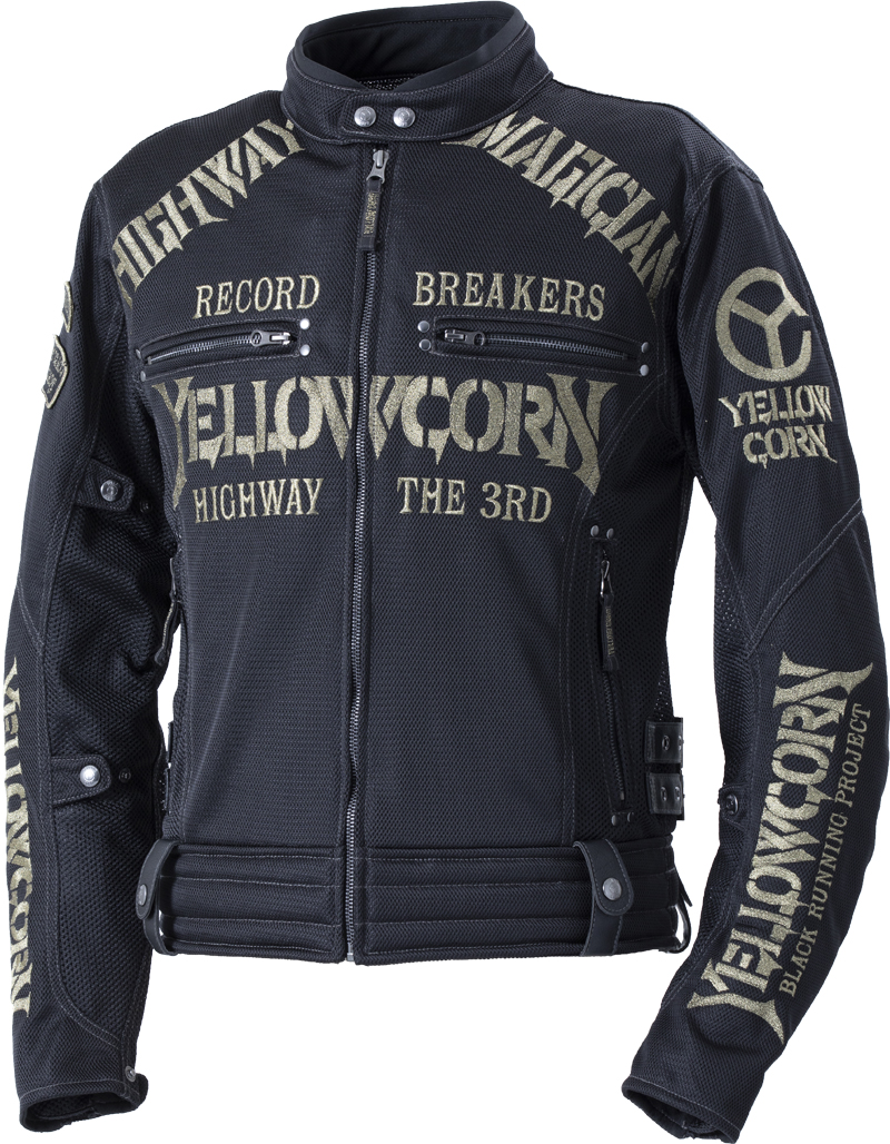 イエローコーン YeLLOW CORN 2020年春夏モデル メッシュジャケット 黒/ゴールド Mサイズ YB-0105 HD店