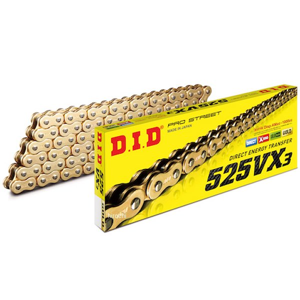 DID 大同工業 チェーン 525VX3シリーズ ゴールド 122L カシメ 4525516396721 HD店