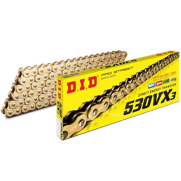 DID 大同工業 チェーン 530VX3シリーズ ゴールド 128L クリップ 4525516466295 HD店