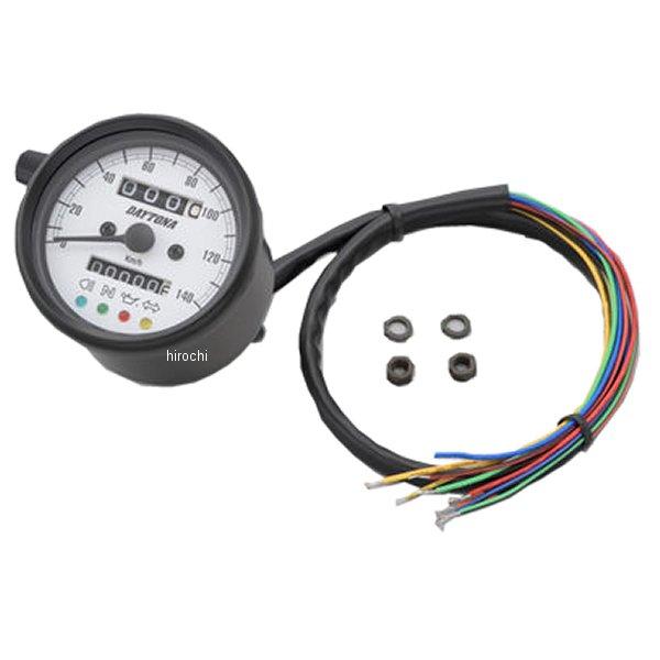 【メーカー在庫あり】 デイトナ 機械式スピードメーター φ60 LED照明 140km インジケーター付き 黒/白 汎用 15628 HD店