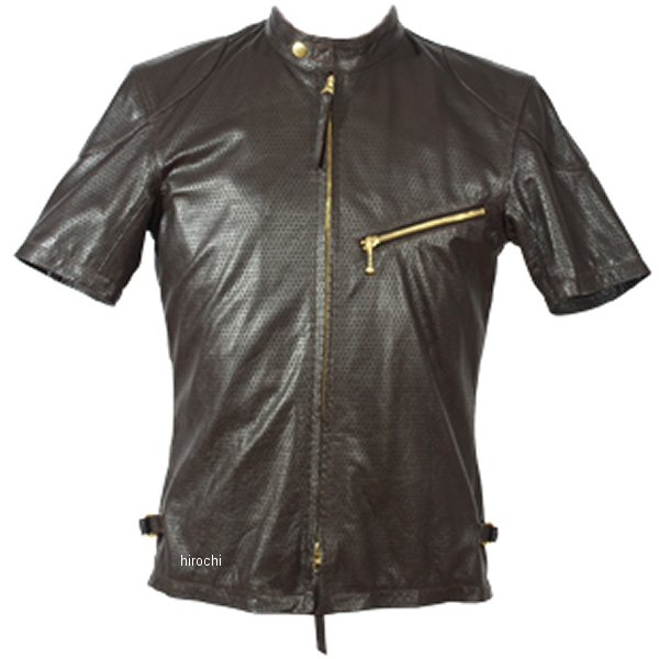 1124 カドヤ KADOYA パンチングレザーTシャツ ブラウン LLサイズ 1124-BR-LL HD店