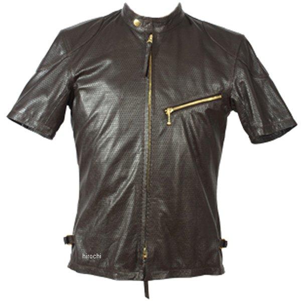 1124 カドヤ KADOYA パンチングレザーTシャツ ブラウン 3Lサイズ 1124-BR-3L HD店