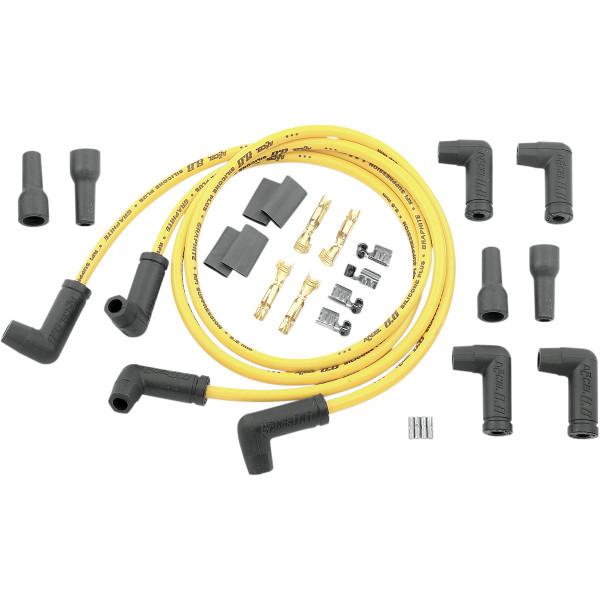 【USA在庫あり】 アクセル ACCEL 8.8mm デュアル プラグコード 90度エンド 汎用 黄 DS-242653 HD