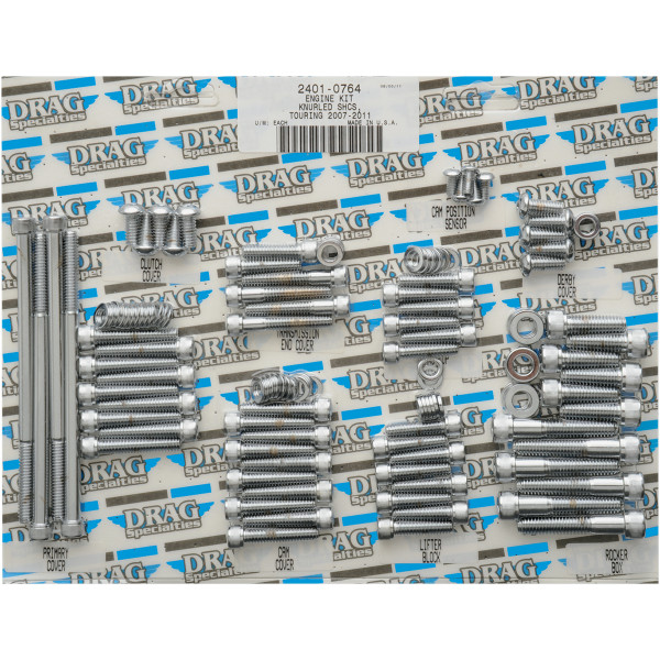 【USA在庫あり】 DRAG ボルトキット エンジン全体 07年-16年 FLH クローム/ローレット 2401-0764 HD店