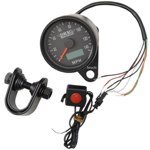 【USA在庫あり】 DRAG 2.37インチ(60mm) 電子スピードメーター、オド/トリップメーター付き(140MPH) 黒ボディー/黒フェイス 2210-0257 HD