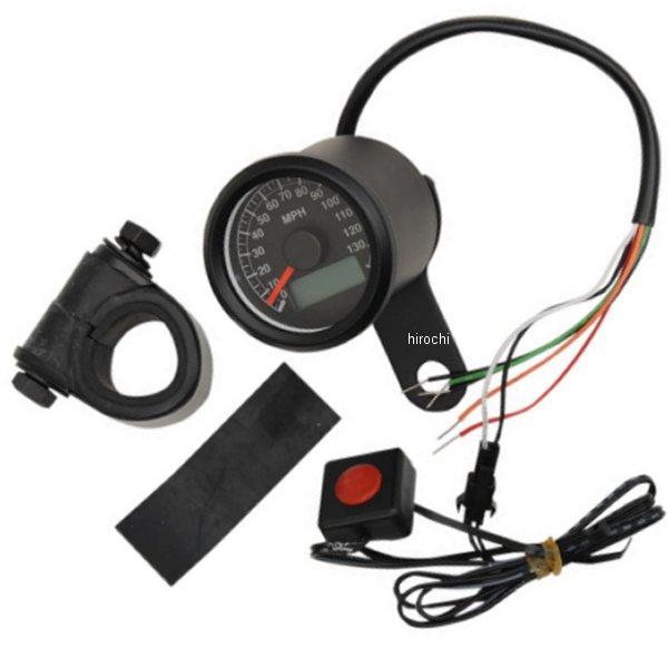 【USA在庫あり】 DRAG 1.87インチ(47mm) 電子スピードメーター、オド/トリップメーター付き(140MPH) 黒ボディー/黒フェイス 2210-0259 HD