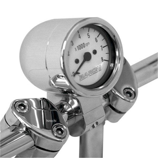 【USA在庫あり】 バロン BARON 電子タコメーター 8000rpm 1インチ(25mm)ハンドルパー 白 2211-0048 HD店