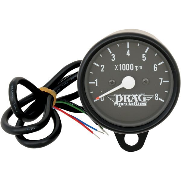 【USA在庫あり】 DRAG ミニ電子タコメーター 8000rpm 黒ボディ/黒フェイス/白針 2211-0119 HD