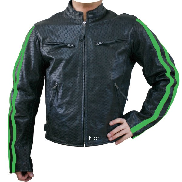 モトフィールド MOTO FIELD パンチングレザージャケット ライン グリーンライン Lサイズ MF-LJ009P HD店