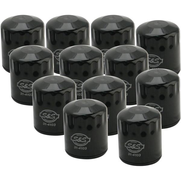 【USA在庫あり】 S&Sサイクル S&S Cycle オイルフィルター 99年以降 TwinCam 黒 12個入り 0712-0494 HD店