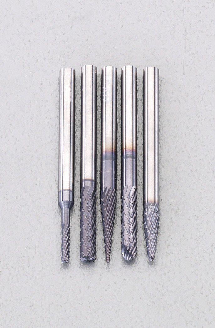 【メーカー在庫あり】 エスコ ESCO 5本組/3mm軸 TiAINコート 超硬バーセット 000012241131 HD店
