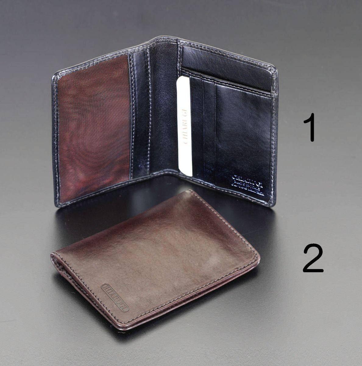 【メーカー在庫あり】 エスコ ESCO 90x120mm カードケース 本革製/ブラック 000012223515 HD店