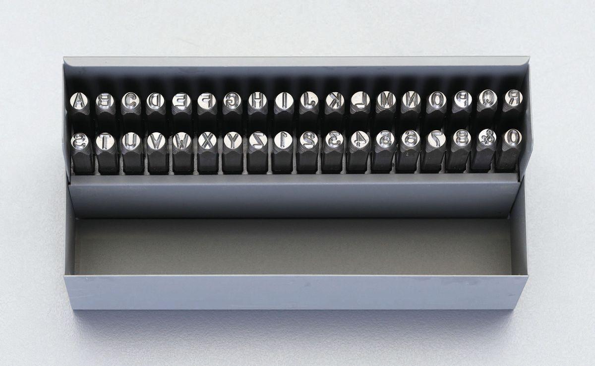 【メーカー在庫あり】 エスコ ESCO 1.6mm 英字 数字 刻印セット 000012226235 HD店