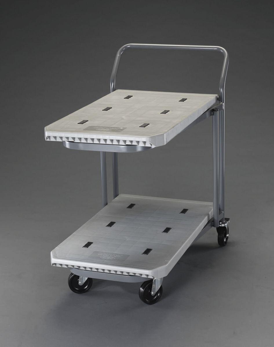【メーカー在庫あり】 エスコ ESCO 810x480mm/200Kg 運搬車(二段式/プラスチック製) 000012208714 HD