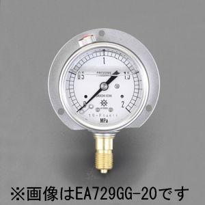 【メーカー在庫あり】 エスコ ESCO 60mm/ 0-10MPa つば付圧力計(グリセリン入) 000012080104 HD店