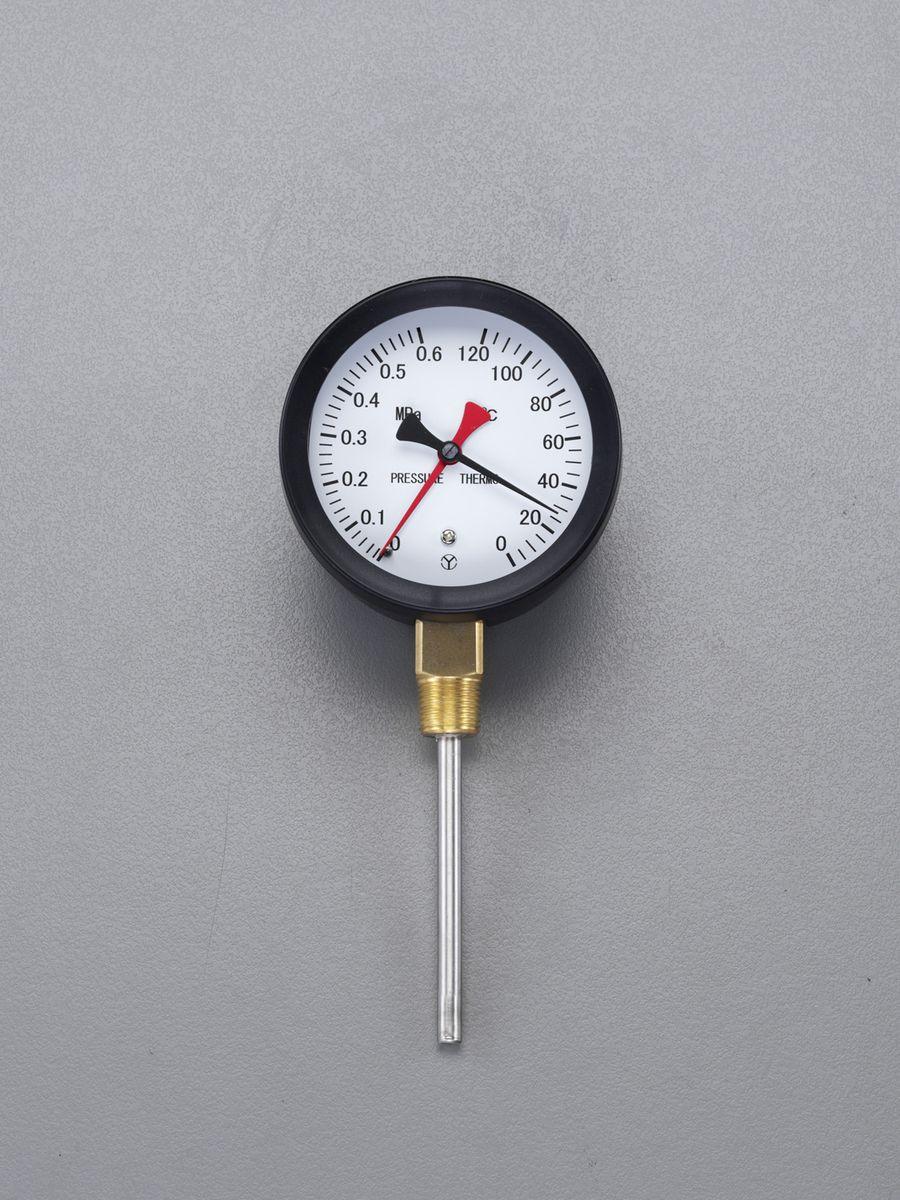 【メーカー在庫あり】 エスコ ESCO 0- 120℃/0-0.3MPa/φ88mm 水高計(立型) 000012259521 HD店