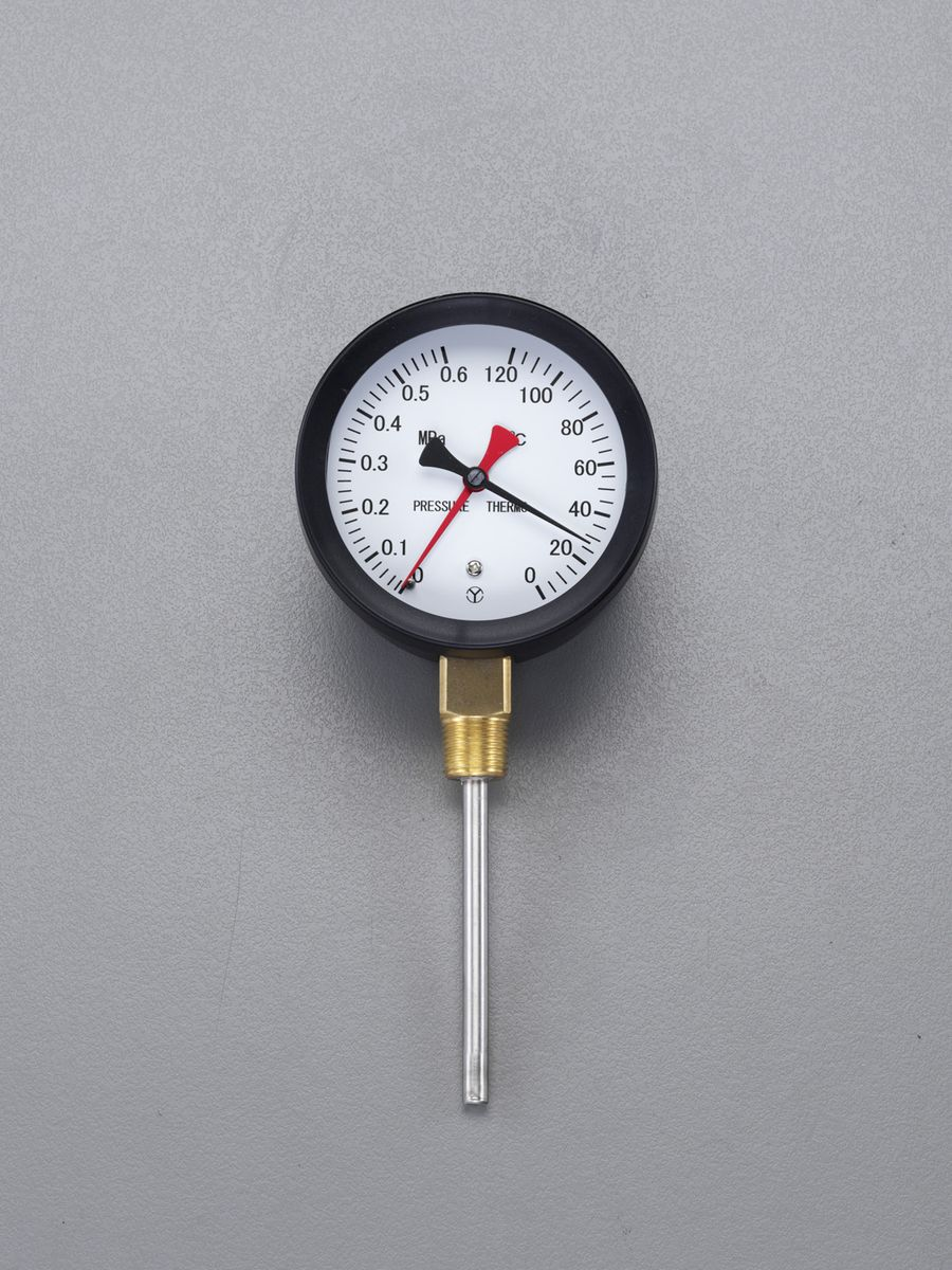 【メーカー在庫あり】 エスコ ESCO 0- 120℃/0-0.6MPa/φ88mm 水高計(立型) 000012259522 HD店