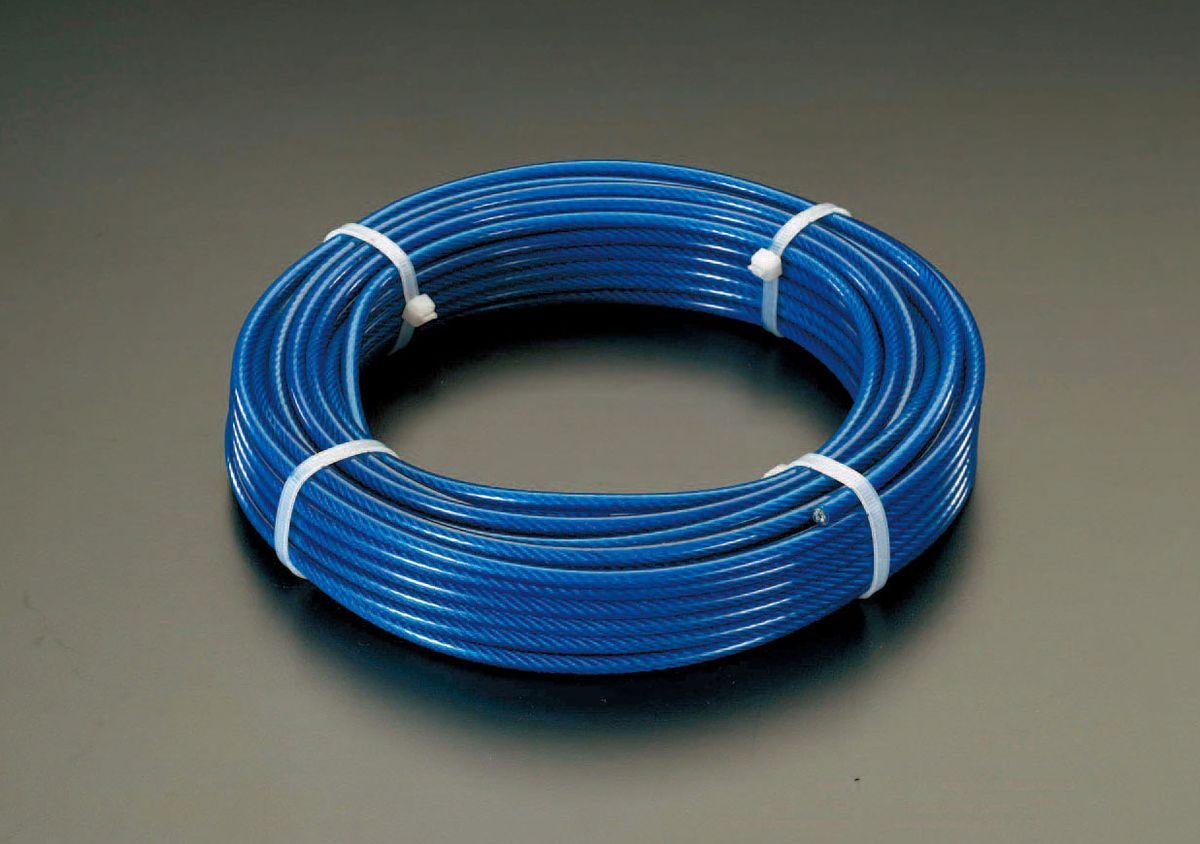 【メーカー在庫あり】 エスコ ESCO 5/ 7mmx100m/6x19 ワイヤーロープ(スチール製 PVCコート) 000012239009 HD店