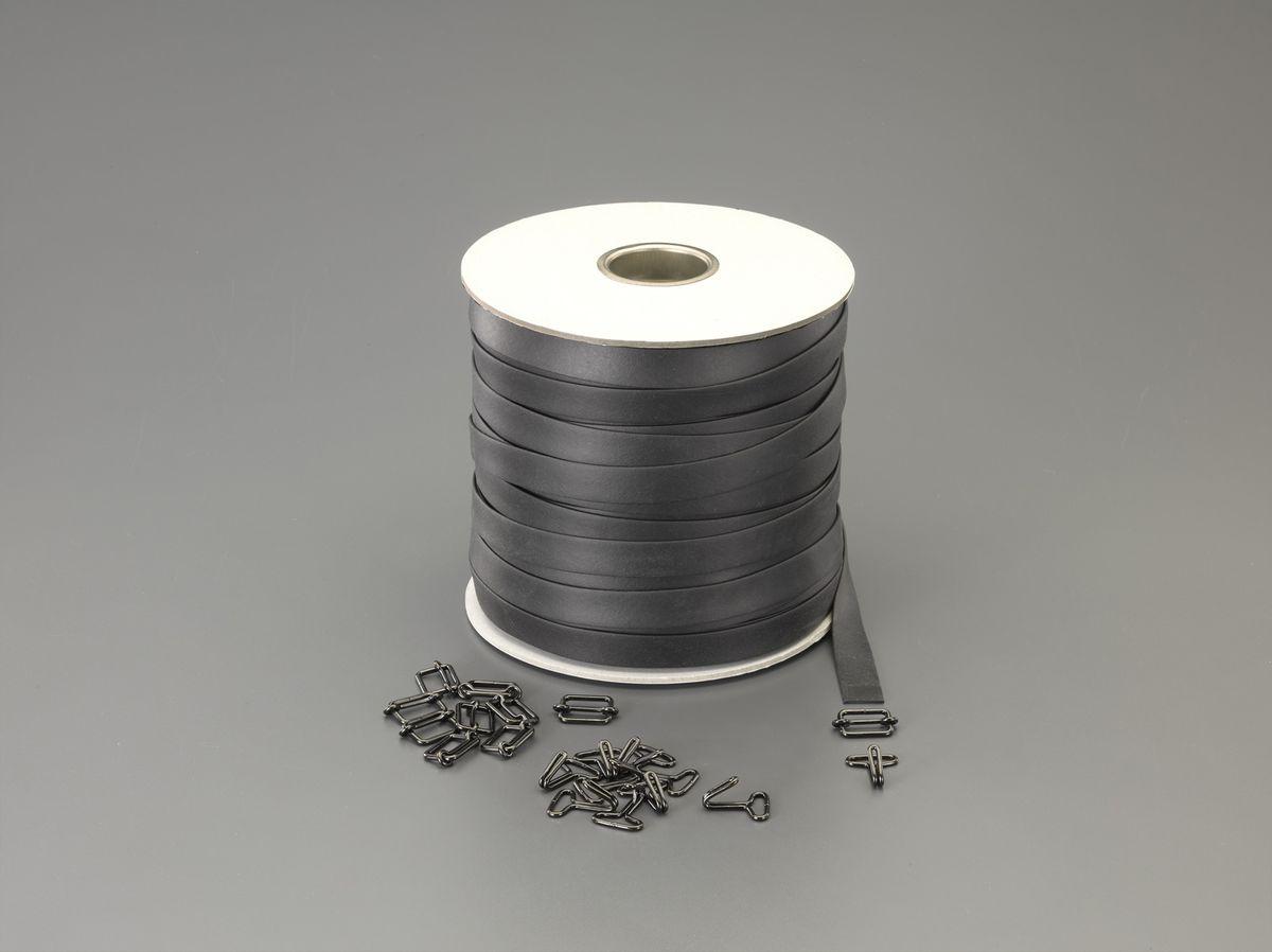 【メーカー在庫あり】 エスコ ESCO 25x2.0mmx 80m 平ゴムロープ(金具付) 000012263511 HD店