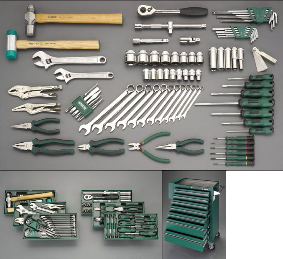 【メーカー在庫あり】 エスコ ESCO 83個組 ツールワゴン付工具セット(トレー入) 000012260336 HD店