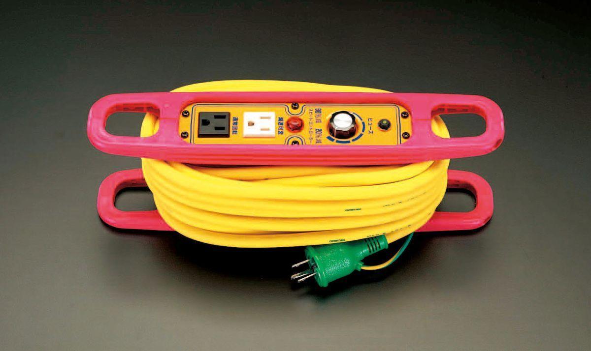 【メーカー在庫あり】 エスコ ESCO AC100V/15A/10m コードリール スピコン・ブレーカー付 000012020053 HD店