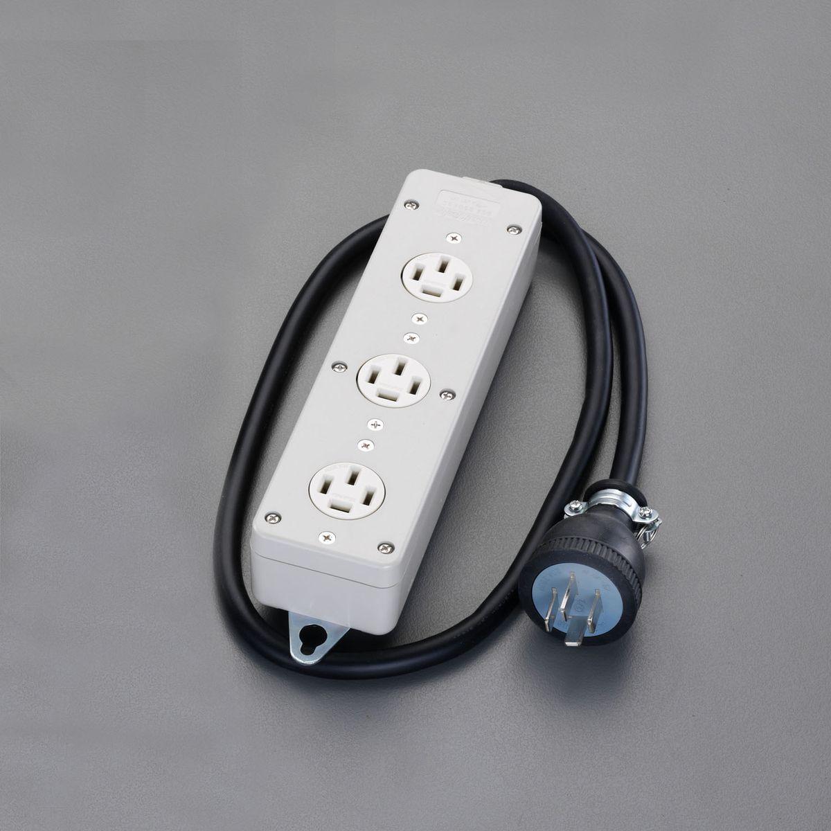 【メーカー在庫あり】 エスコ ESCO AC250V/20Ax1.0m 三相タップ 正転3口/接地3 000012054239 HD店
