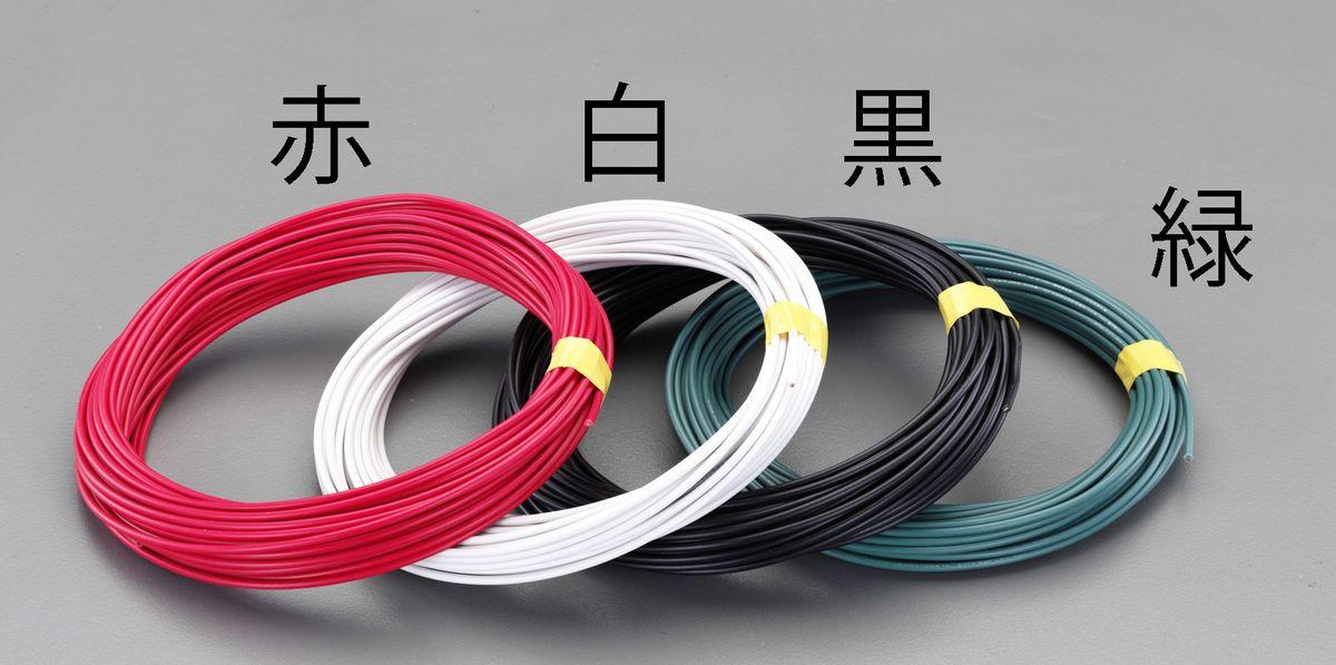 【メーカー在庫あり】 エスコ ESCO 8 mm2 x 20m IV電線 撚線/黒 000012256608 HD店