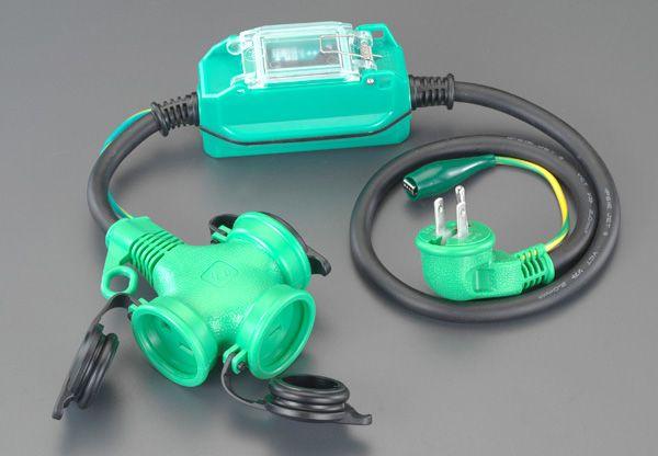 【メーカー在庫あり】 エスコ ESCO 15A/1m 防雨型 漏電保護専用プラグ L型 000012091388 HD店