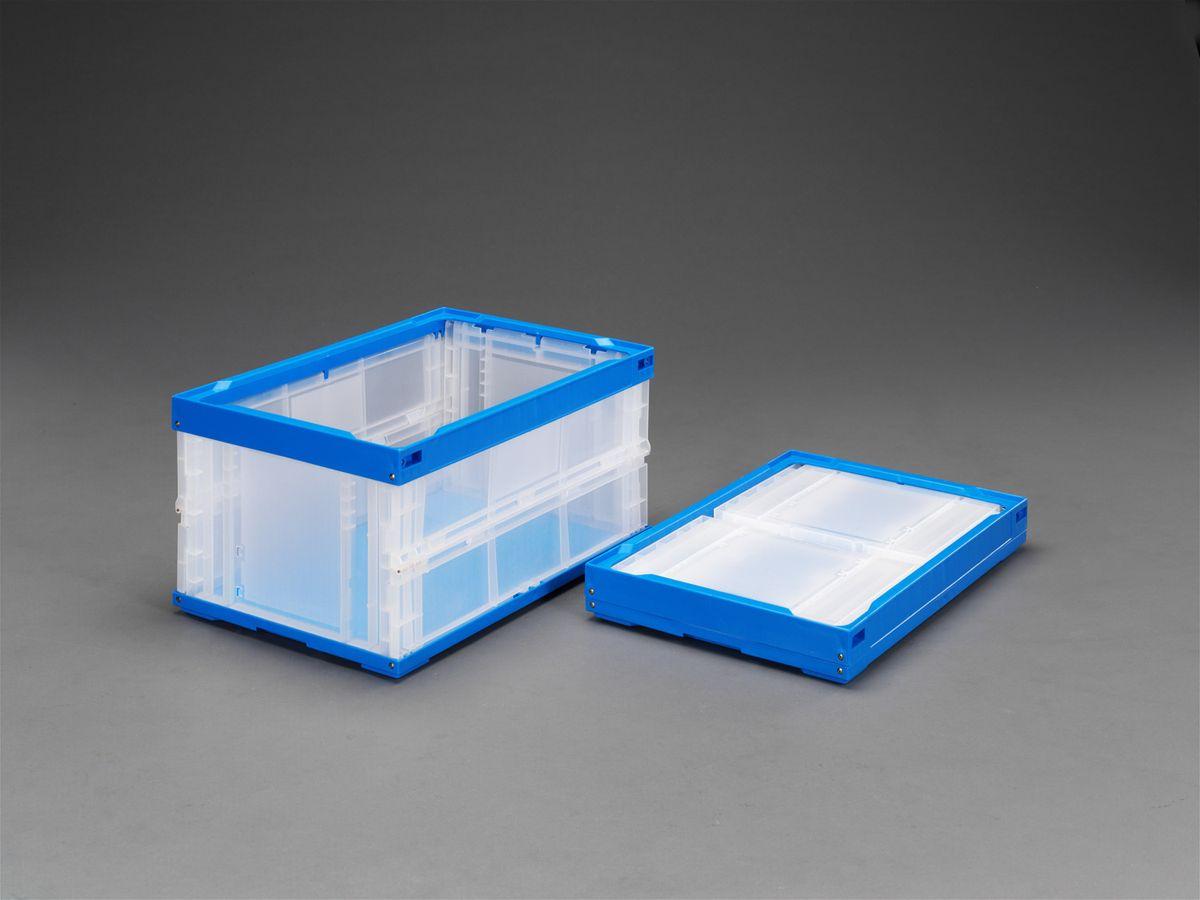 【メーカー在庫あり】 エスコ ESCO 530x366x320mm/48.0L 折畳コンテナ(透明 青/2個 000012002928 HD