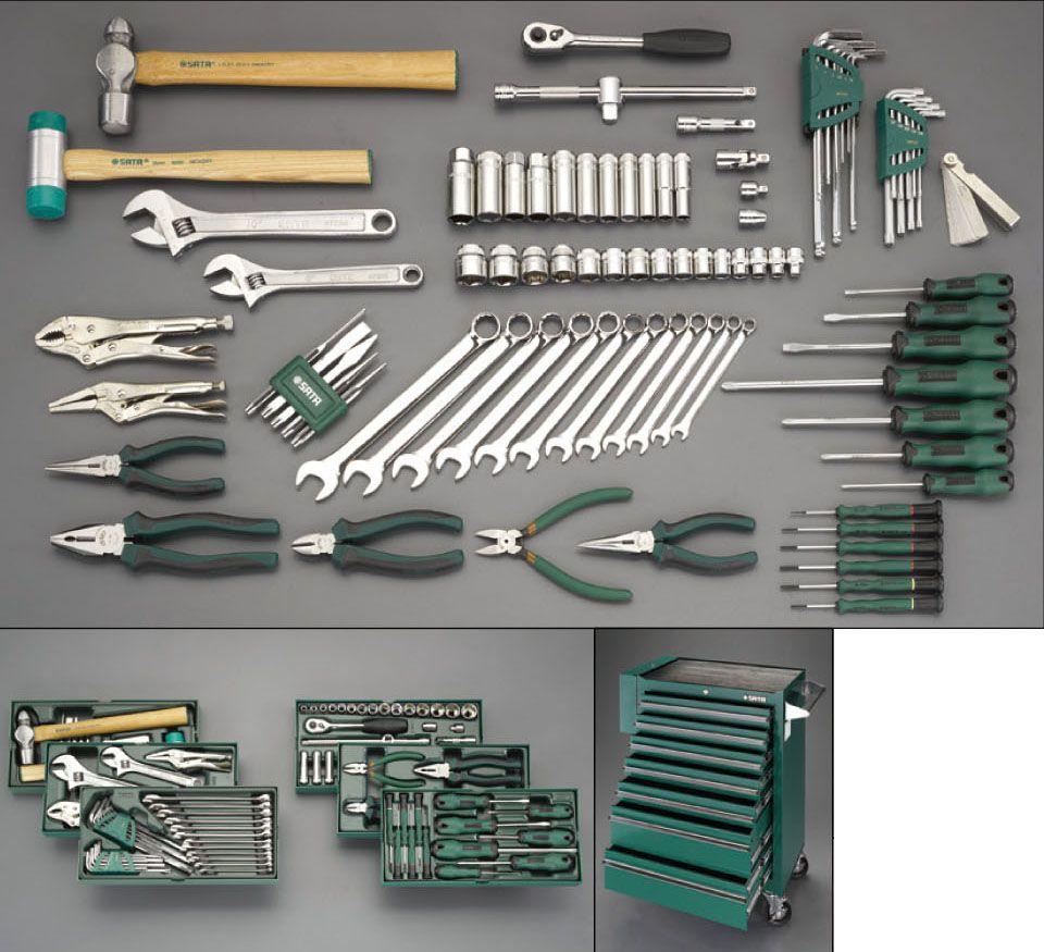 【メーカー在庫あり】 エスコ ESCO 89個組 ツールワゴン付工具セット(トレー入) 000012260335 HD店
