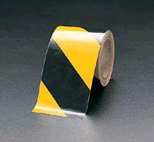 【メーカー在庫あり】 エスコ ESCO 100mmx10m トラテープ 粗面用・反射 黒/黄 000012055858 HD店