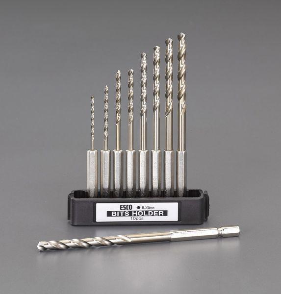 【メーカー在庫あり】 EA824BL-59 エスコ ESCO 2.0-6.0mm 9本組六角軸ショートドリルセット(CO-HSS)