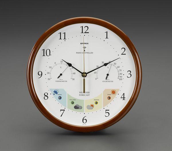 【メーカー在庫あり】 エスコ ESCO φ270mm 掛時計(温度・湿度計付) EA798CN-10 HD店