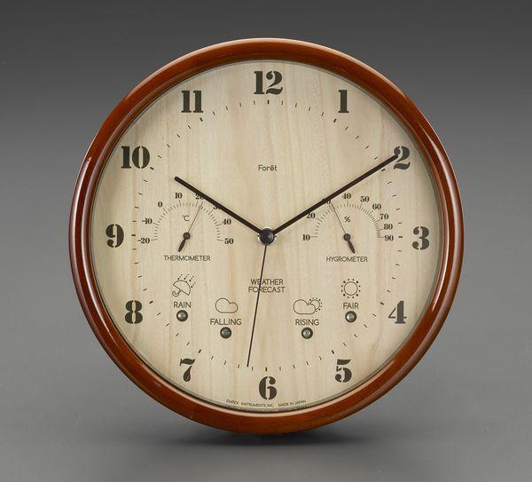 【メーカー在庫あり】 エスコ ESCO φ270mm 掛時計(温度・湿度計付) EA798CN-11 HD店