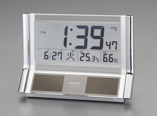 【メーカー在庫あり】 エスコ ESCO 141x202x 67mm 電波 置時計・ソーラー電源 EA798CS-4 HD店