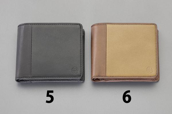 【メーカー在庫あり】 エスコ ESCO 110x 95x10mm 二つ折り財布 (茶) EA927BR-6 HD店