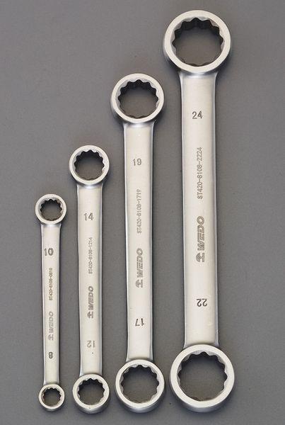 【メーカー在庫あり】 4本組/8-24mm 両口メガネレンチ(ステン EA616BS-100 HD店