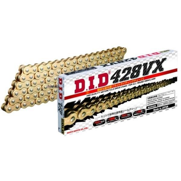 4525516378321 DID 大同工業 チェーン 428VX シリーズ ゴールド (134L) クリップ DID 428VX-134L FJ(クリップ) GOLD HD店