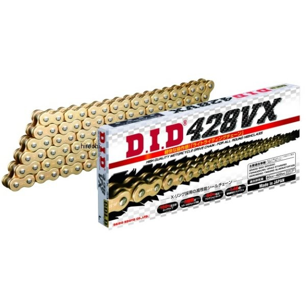 4525516378802 DID 大同工業 チェーン 428VX シリーズ ゴールド (138L) カシメ DID 428VX-138L ZJ(カシメ) GOLD HD店