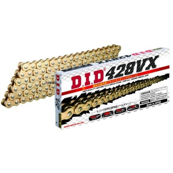 4525516378451 DID 大同工業 チェーン 428VX シリーズ ゴールド (160L) クリップ DID 428VX-160L FJ(クリップ) GOLD HD店