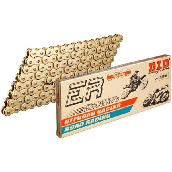 【メーカー在庫あり】 DID 大同工業 チェーン 520ERV3 レース用 ERシリーズ ゴールド (110L) カシメ DID 520ERV3-110L ZJ(カシメ) GOLD HD店