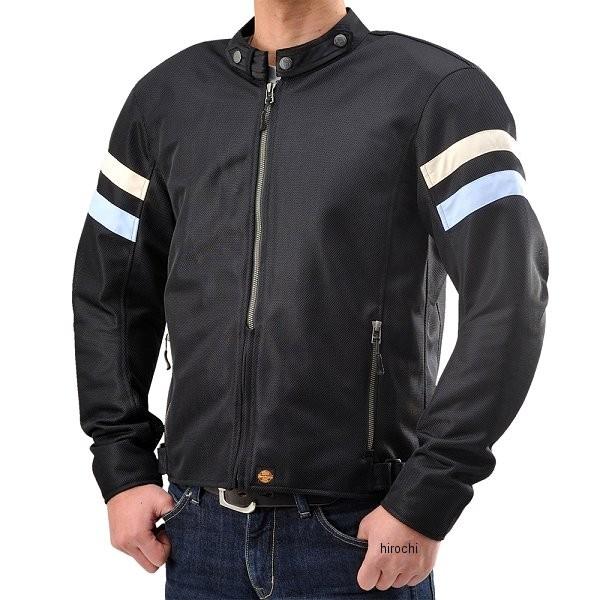 【メーカー在庫あり】 HBJ-035 ヘンリービギンズ HenlyBegins メッシュライダースジャケット 黒/サックスライン サイズM 93873 HD店