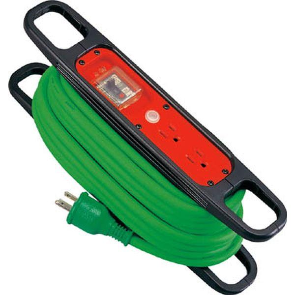 【メーカー在庫あり】 日動工業(株) 日動 ハンドリール 100V 3芯×10m 緑 アース過負荷漏電しゃ断器付 HR-EK102-G HD