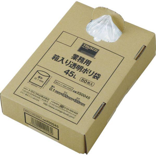 トラスコ中山(株) TRUSCO まとめ売り 業務用ポリ袋 透明・箱入 0.1×120L (50枚入) XS0120 HD店