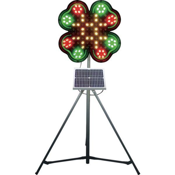 【メーカー在庫あり】 (株)仙台銘板 仙台銘板 ネオクローバー ソーラー式大型回転灯 三脚付 電源セット 3050700 HD